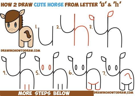 draw  cute kawaii chibi horse  letters