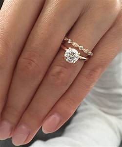 rose gold solitaire engagement ring with art deco wedding band With engagement ring on wedding day