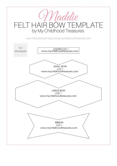 felt hair bow template printable