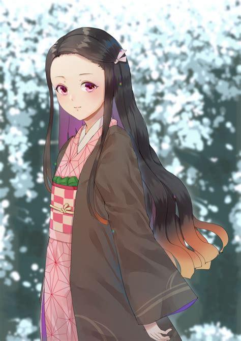 wallpaper kamado nezuko kimetsu  yaiba long hair