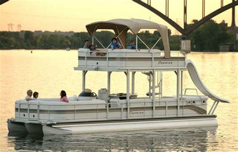 Used Pontoon Boats With Upper Deck And Slide For Sale by Double Deck Pontoon Boat With Slide Want It So Bad