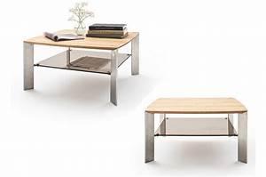 Table Basse Verre Et Acier : table basse carr e en bois verre et acier novomeuble ~ Teatrodelosmanantiales.com Idées de Décoration