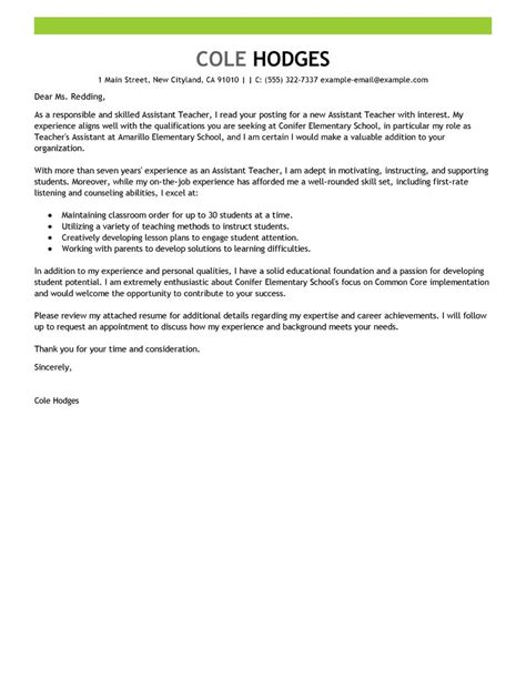 assistant teacher cover letter examples livecareer