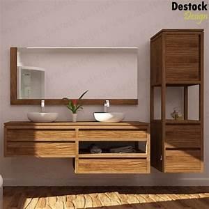 meuble salle de bain bois double vasque mzaolcom With meuble à suspendre salle de bain