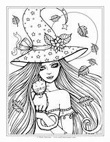 Coloring Witch Spooky Printable sketch template