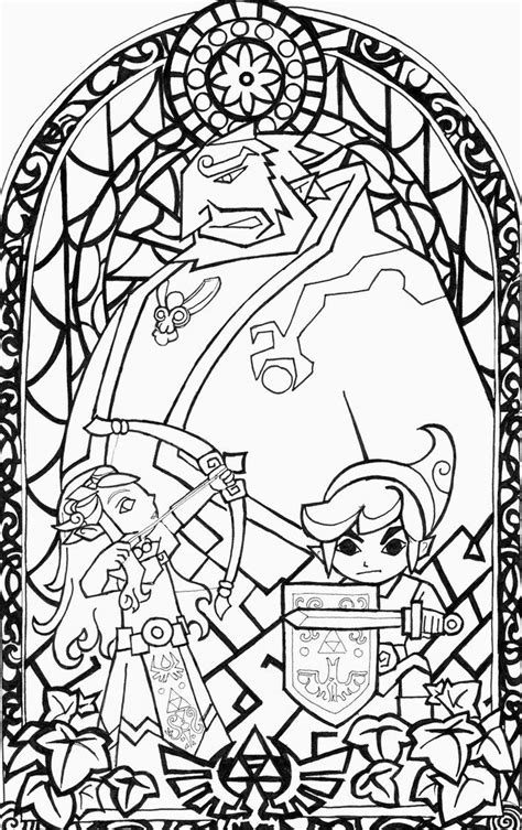 legend  zelda wind waker stained glass window  step   colouring