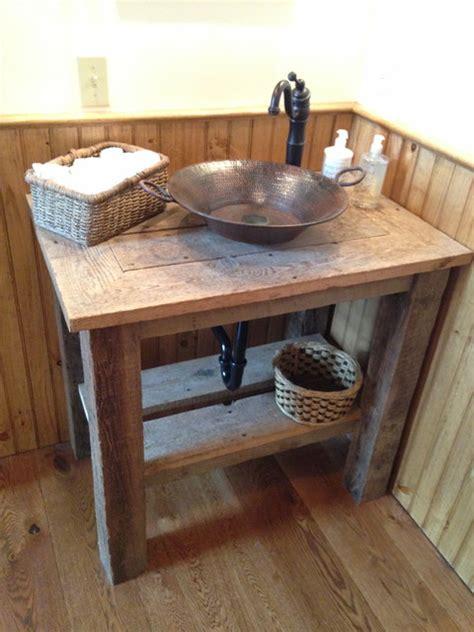 rustic vessel sink vanity reclaimed wood vanity with hammered copper vessel sink