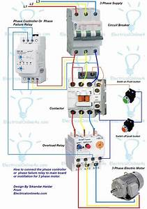 3 Phase Motor Wiring Diagram Contactor Relay