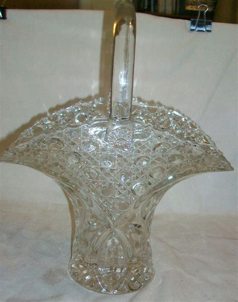Cut Glass Flower Vases by Vintage Cut Glass Flower Vase With Handle Ebay