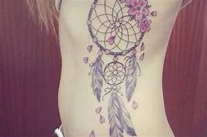 Attrape Reve Tatoo : tatouage fleur sur attrape reve plume cote femme ~ Nature-et-papiers.com Idées de Décoration