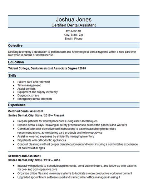 Dental Assistant Resume Sle by Certified Dental Assistant Resume Exle