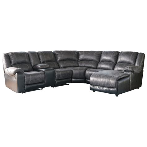 signature design by nantahala faux leather reclining sectional with chaise console