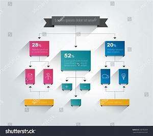 Infographics Flowchart Colored Shadows Scheme Stock Vector
