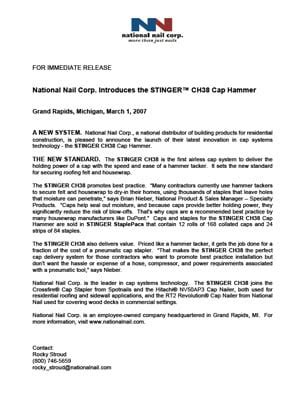 Press Releases   Stinger World AU   Stinger Cap Systems
