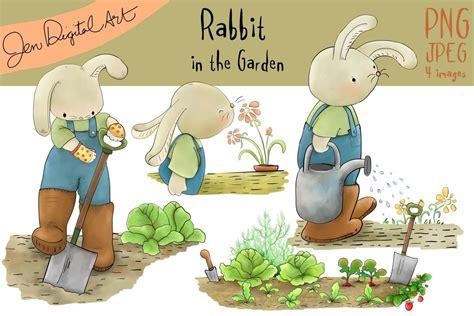 rabbit   garden clip art illustration jpegpng