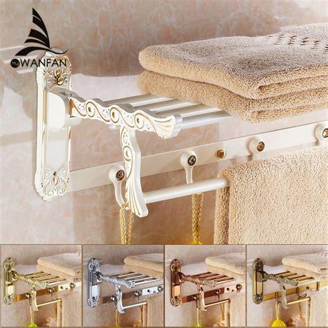 bathroom wall towel shelves bathroom shelves folding rails brass white towel rack bath 4347