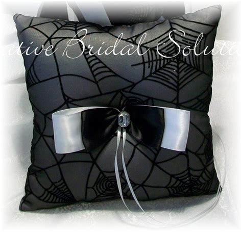 black and white spiderweb wedding ring bearer