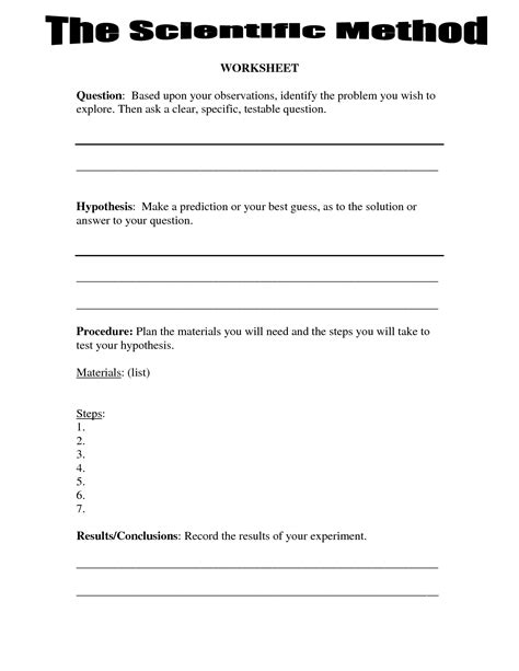 4th grade science worksheets scientific method