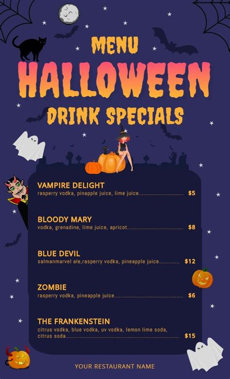 halloween kids drinks menu design template halloween