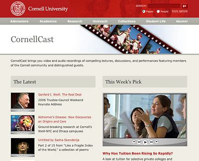 cornellcast offers big red audio and video on the web