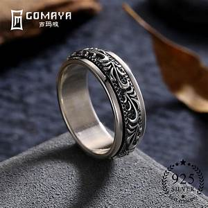 Gomaya Carving Flower 925 Sterling Silver Rings Gothic