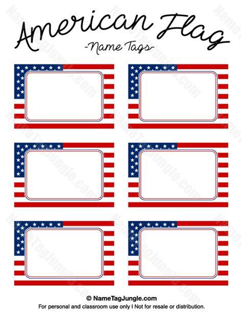 flag card template free printable american flag name tags the template can