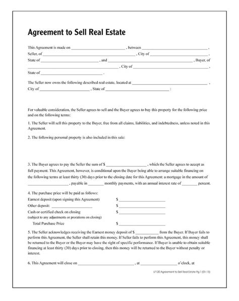 adams agreement  sell real estate forms  instructions