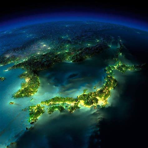 Japan By Night Picture Taken By The Nasa Food Ideas
