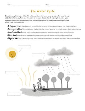 Water Cycle Matching  Worksheet Educationcom