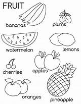 Coloring Fruit Fruits Pages Learn Printable sketch template