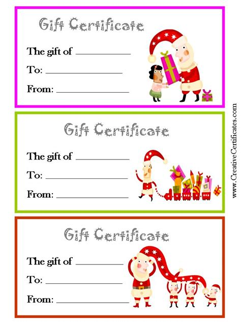 printable christmas gift certificate new calendar template site
