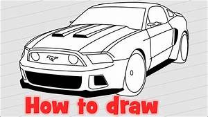 How to draw a car Ford Mustang GT 2014 from the Need For Speed - YouTube