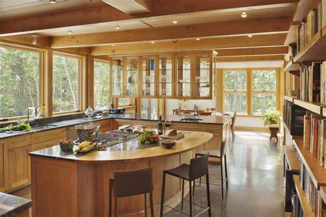 Warm Clean Contemporary Kitchen With Unusual Island