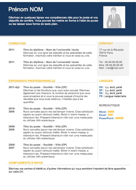 site de recherche d emploi cadre type cv cadre cv anonyme