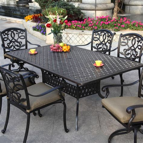 patio furniture dining set cast aluminum 72 quot rectangular