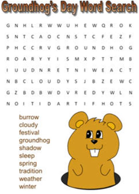 groundhogs day word search puzzles