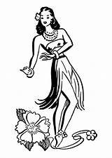 Hula Dancer Clipart Coloring Library sketch template