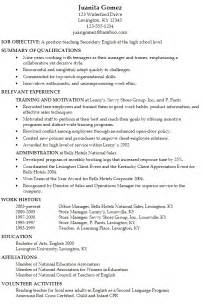canadian high student resume exles resume for a secondary english teacher susan ireland resumes