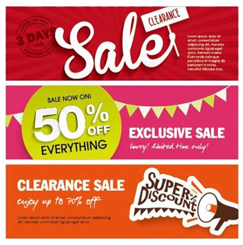 flat styles sale banners vector set  vector banner
