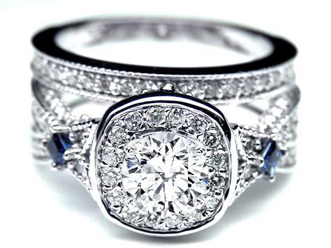 Engagement Ring -diamond Halo Laced Bridal Set Blue