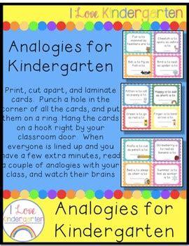 analogies  kindergarten  ilovekindergarten tpt