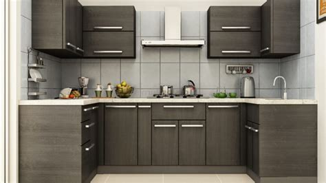 Excellent Modular Kitchen Small Design Brown Faux Leather