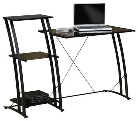 studio rta deco tiered desk in black modern desks writing bureaus