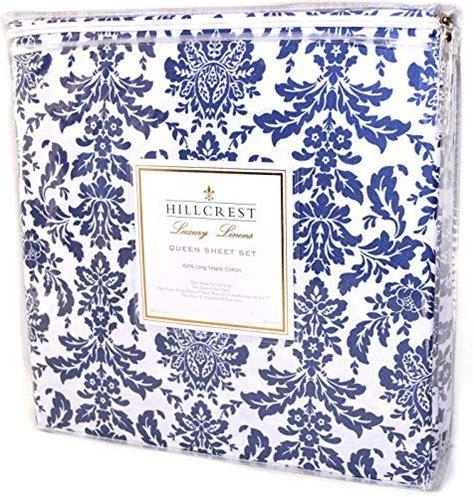 hillcrest blue damask pc sheet set  cotton luxury
