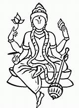 Coloring Pages Religious Hindu Gods Saraswati Vishnu Religion Clipart Printable Goddesses Mythology Lab Drawing Drawings Goddess Templates Library Draw Krishna sketch template