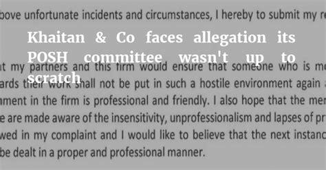 khaitan associate leaves  concerns   firm dealt