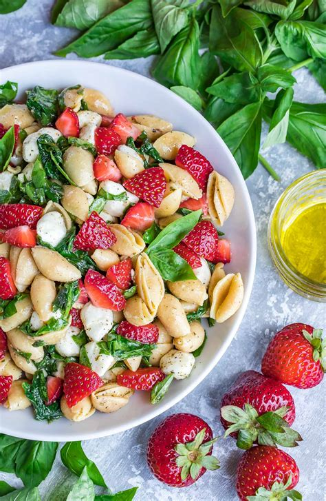 There's something particularly satisfying about seeing light. Caprese Strawberry Pasta Salad Recipe - Peas and Crayons