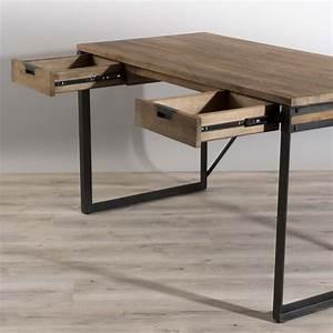 Bureau Bois Metal : bureau 2 tiroirs bois et m tal meubles macabane meubles et objets de d coration ~ Teatrodelosmanantiales.com Idées de Décoration