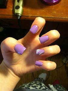 Light purple with white and silver glitter accent nail ...