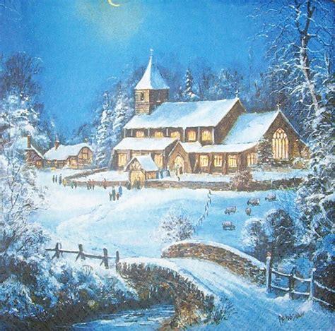 winterlandschaft kirche serviette wwwsusipuppis